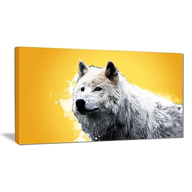Designart Wonder of the Wolf, Yellow Canvas Art Print, 5 Panels, (PT2330-32-16)