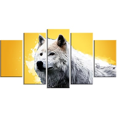 Designart Wonder of the Wolf, Yellow Canvas Art Print, 5 Panels, (PT2330-373)