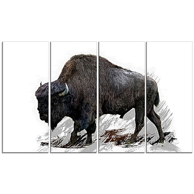 Designart Migrating Bison Canvas Art Print, 5 Panels, (PT2333-271)