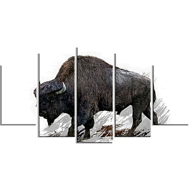 Designart Migrating Bison Canvas Art Print, 5 Panels, (PT2333-373)
