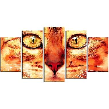 Designart Feline Stare Canvas Art Print, 5 Panels, (PT2334-373)