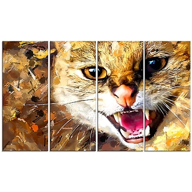 Designart Hissing Cat Canvas Art Print, 5 Panels, (PT2335-271)