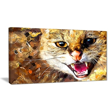 Designart Hissing Cat Canvas Art Print, 5 Panels, (PT2335-32-16)