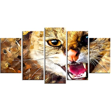 Designart Hissing Cat Canvas Art Print, 5 Panels, (PT2335-373)