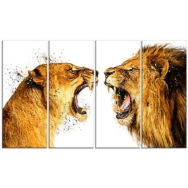 Design Art Lion Argument Canvas Art Print 5 Panels