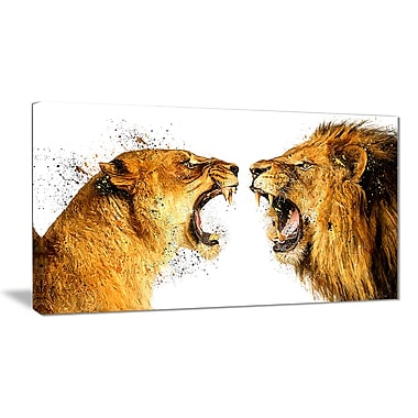 Designart Lion Argument Canvas Art Print, 5 Panels, (PT2336-40-20)