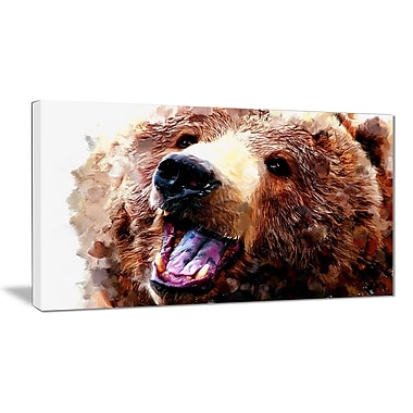 Designart Happy Brown Bear Canvas Art Print, 5 Panels, (PT2338-32-16)