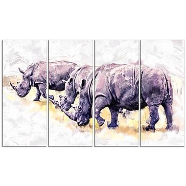 Design Art – Rhinocéros qui marchent, impression sur toile, 5 panneaux