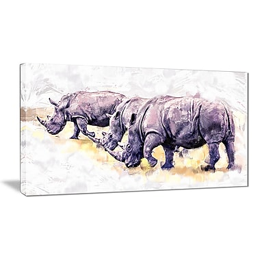 Designart Walking Rhinos Canvas Art Print, 5 Panels, (PT2340-32-16)