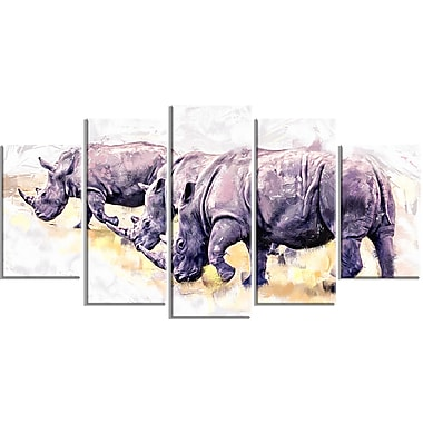 Designart Walking Rhinos Canvas Art Print, 5 Panels, (PT2340-373)
