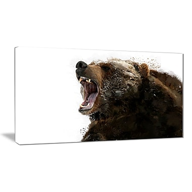 Designart Beware of the Bear Canvas Art Print, 5 Panels, (PT2341-32-16)