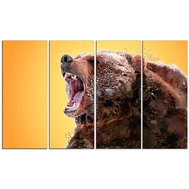 Designart Beware of the Bear, Yellow Canvas Art Print, 5 Panels, (PT2342-271)