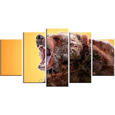 Designart Beware of the Bear, Yellow Canvas Art Print, 5 Panels, (PT2342-373)