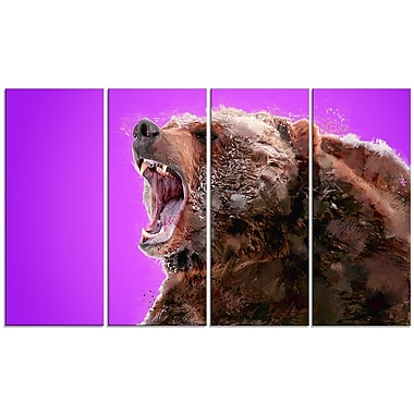 Designart Beware of the Bear, Purple Canvas Art Print, 5 Panels, (PT2343-271)