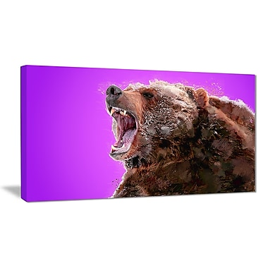 Designart Beware of the Bear, Purple Canvas Art Print, 5 Panels, (PT2343-40-20)