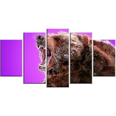 Designart – Imprimé sur toile, violet, méfiez-vous de l'ours, 5 panneaux (PT2343-373)