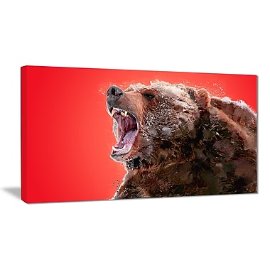 Designart Beware of the Bear, Red Canvas Art Print, 5 Panels, (PT2344-40-20)