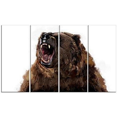 Designart – Fierce Grizzly, impression sur toile, 5 panneaux (PT2345-271)