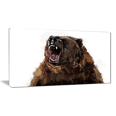 Designart Fierce Grizzly Canvas Art Print, 5 Panels, (PT2345-40-20)