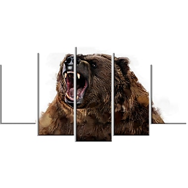 Designart Fierce Grizzly Canvas Art Print, 5 Panels, (PT2345-373)