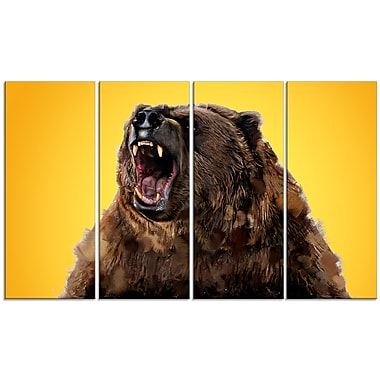 Designart Fierce Grizzly, Yellow Canvas Art Print, 5 Panels, (PT2346-271)