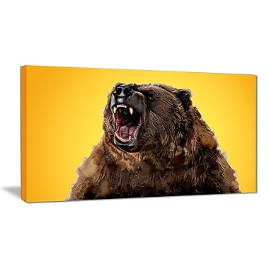 Designart Fierce Grizzly, Yellow Canvas Art Print, 5 Panels, (PT2346-32-16)