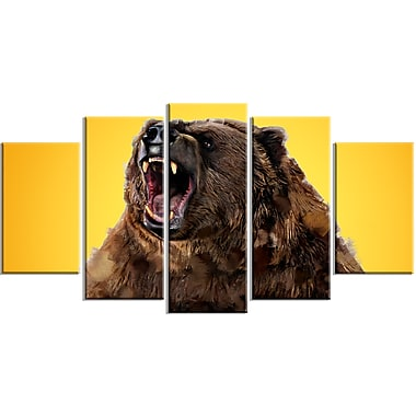 Designart Fierce Grizzly, Yellow Canvas Art Print, 5 Panels, (PT2346-373)