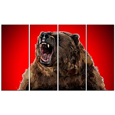 Designart Fierce Grizzly, Red Canvas Art Print, 5 Panels, (PT2347-271)