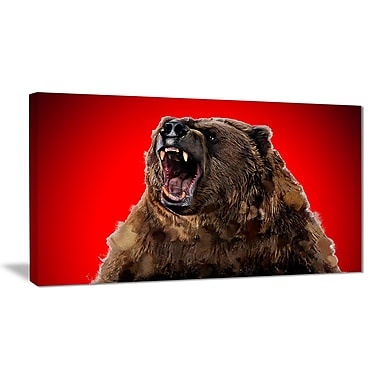 Designart Fierce Grizzly, Red Canvas Art Print, 5 Panels, (PT2347-40-20)