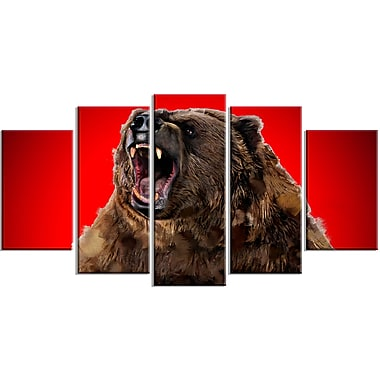 Designart Fierce Grizzly, Red Canvas Art Print, 5 Panels, (PT2347-373)