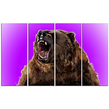Designart Fierce Grizzly, Purple Canvas Art Print, 5 Panels, (PT2348-271)