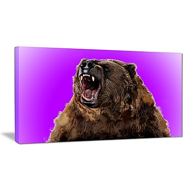 Designart Fierce Grizzly, Purple Canvas Art Print, 5 Panels, (PT2348-32-16)