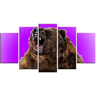 Designart Fierce Grizzly, Purple Canvas Art Print, 5 Panels, (PT2348-373)