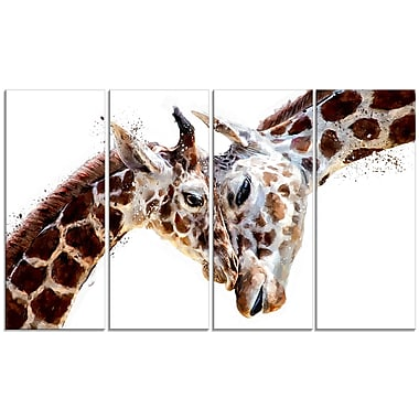 Designart Loving Giraffes Canvas Art Print, 4 Panels, (PT2351-271)