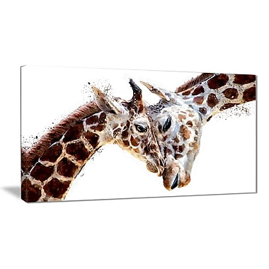 Designart Loving Giraffes Canvas Art Print (PT2351-32-16)