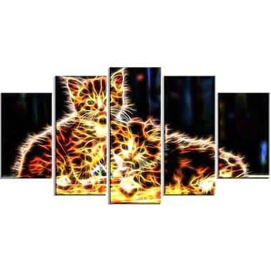 Designart – Impression sur toile, chatons colorés, 5 panneaux (PT2352-373)