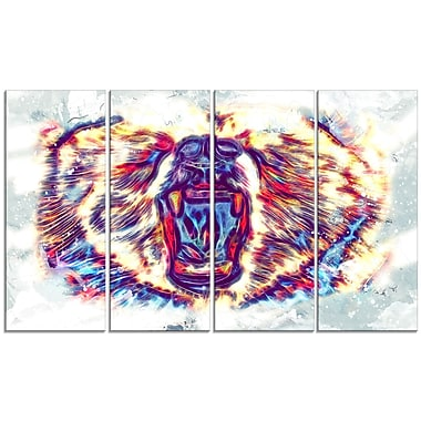 Designart Bold Bear Large Animal Canvas Artwork, (PT2355-271)
