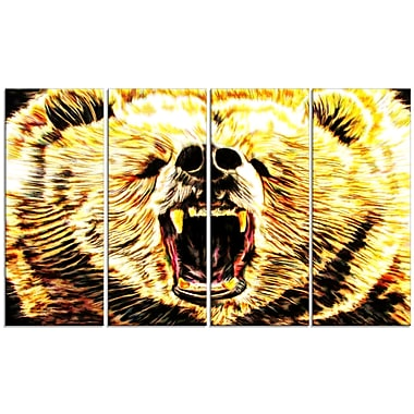 Designart Brazen Bear Large Animal Canvas Artwork, (PT2356-271)