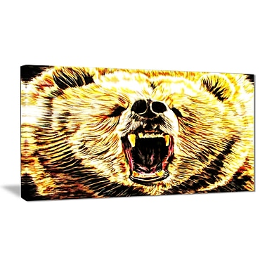 Designart Brazen Bear Large Animal Canvas Artwork, (PT2356-32-16)