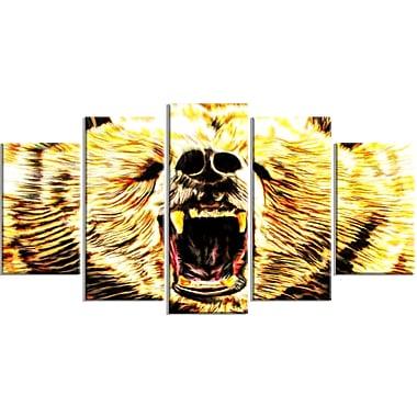 Designart Brazen Bear Large Animal Canvas Artwork, (PT2356-373)