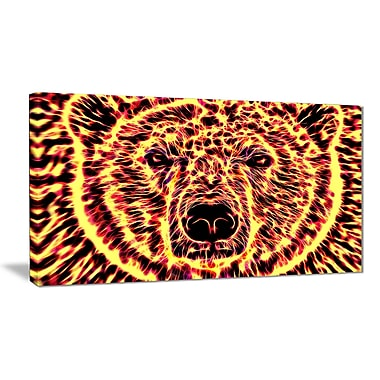 Designart Psychedelic Bear Large Animal Canvas Artwork, (PT2360-32-16)