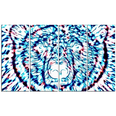 Designart Psychedelic Bear, Blue Large Animal Canvas Artwork, (PT2361-271)