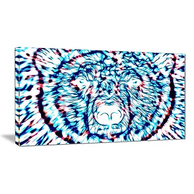 Designart Psychedelic Bear, Blue Large Animal Canvas Artwork, (PT2361-40-20)
