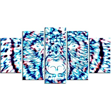 Designart Psychedelic Bear, Blue Large Animal Canvas Artwork, (PT2361-373)