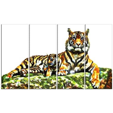 Designart Soft Tigers Large Animal Canvas Artwork, (PT2363-271)