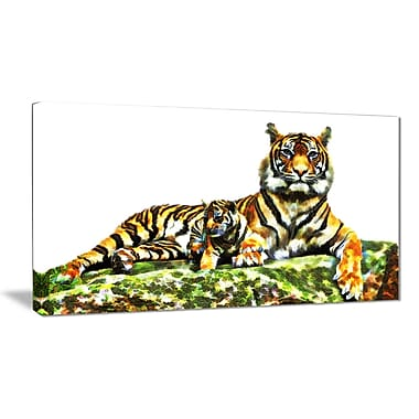 Designart Soft Tigers Large Animal Canvas Artwork, (PT2363-40-20)