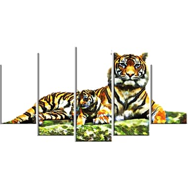 Designart Soft Tigers Large Animal Canvas Artwork, (PT2363-373)