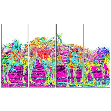 Designart Rainbow Zebras Large Animal Canvas Artwork, (PT2364-271)