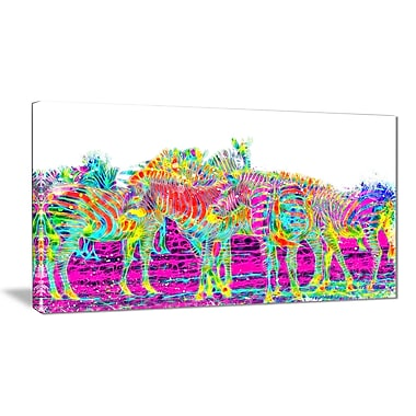 Designart Rainbow Zebras Large Animal Canvas Artwork, (PT2364-32-16)