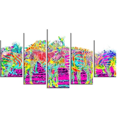 Designart Rainbow Zebras Large Animal Canvas Artwork, (PT2364-373)
